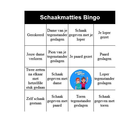 """Bingo Schaak kaart :""""Makkelijk"""""""